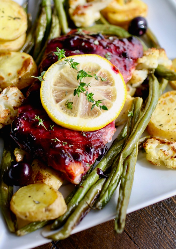 The flavors in this recipe for Sheet Pan Blueberry-Balsamic Glazed Salmon are amazing!