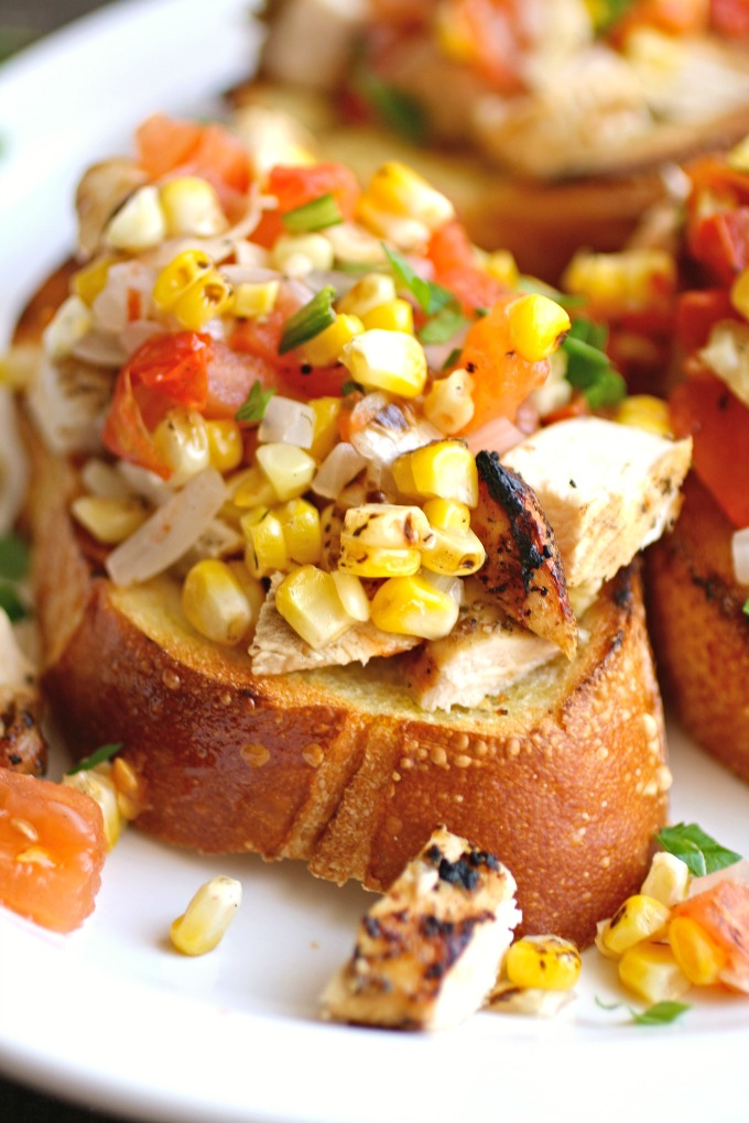 Get up close with these Grilled Chicken and Veggie Bruschetta!