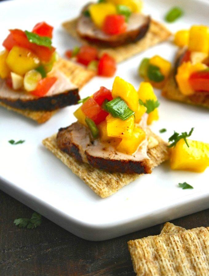 Pork Tenderloin Bites with Mango Salsa (TRISalsalicious)