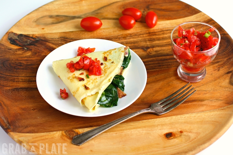 Spinach, Bacon, and Brie Crêpes are elegant for a special meal, and great for a Saturday morning breakfast