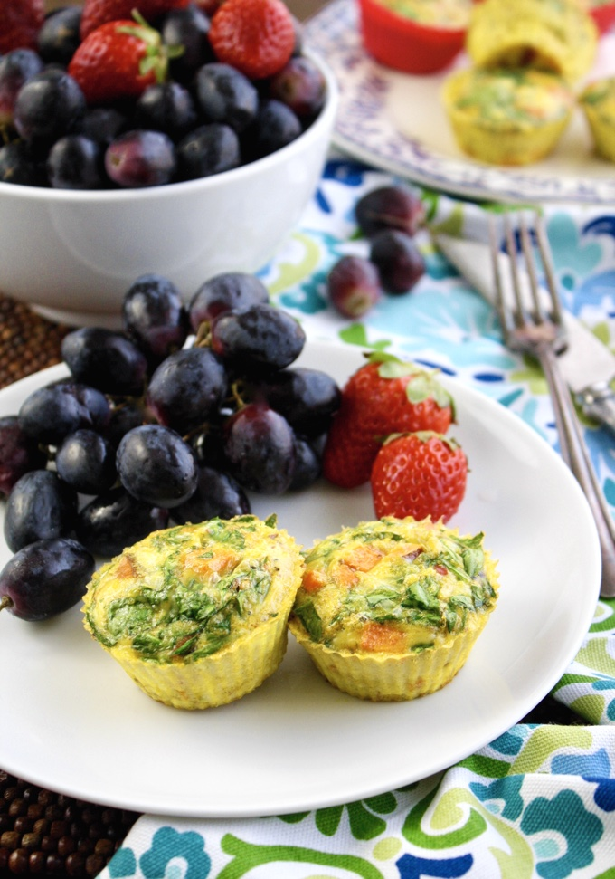 Curried Sweet Potato-Spinach Egg Muffin Cups are fun for any meal. They're filling and flavorful!