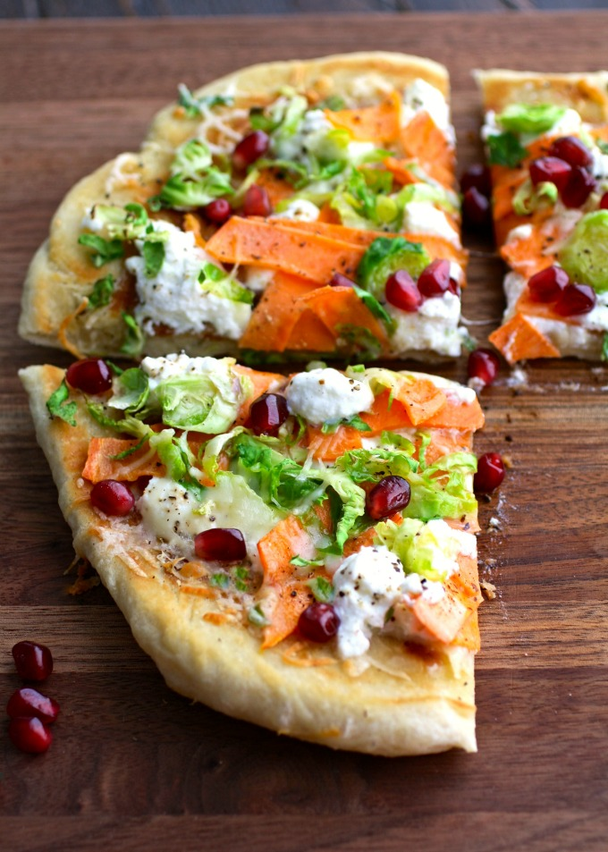 However you slice it, Skillet Pizza with Sweet Potatoes, Brussels Sprouts, and Ricotta is a delicious, easy-to-make dish!
