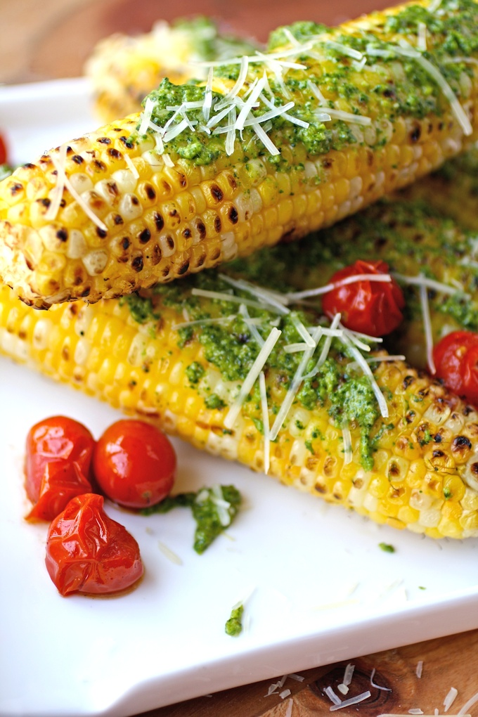 Grilled Corn on the Cob with Kale Pesto is a great summer side dish!