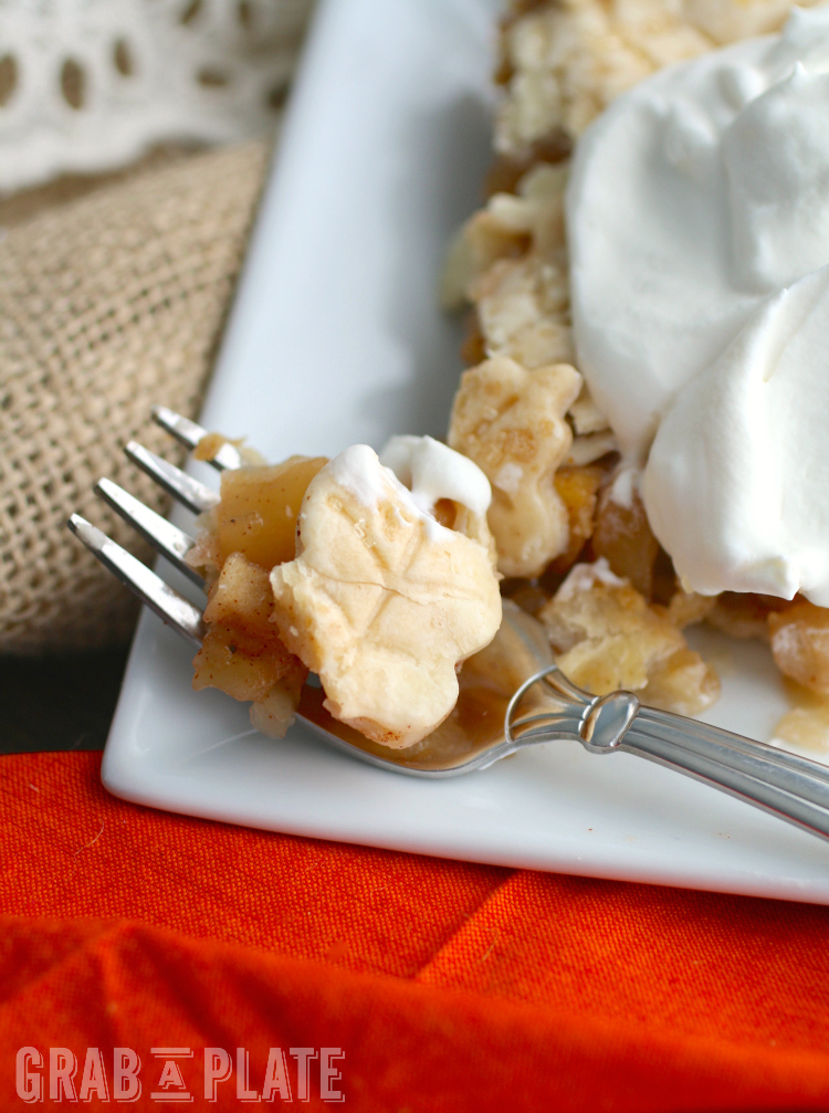 Dig in to a delicious piece of Skillet Apple Pie with Salted Caramel Whipped Topping!