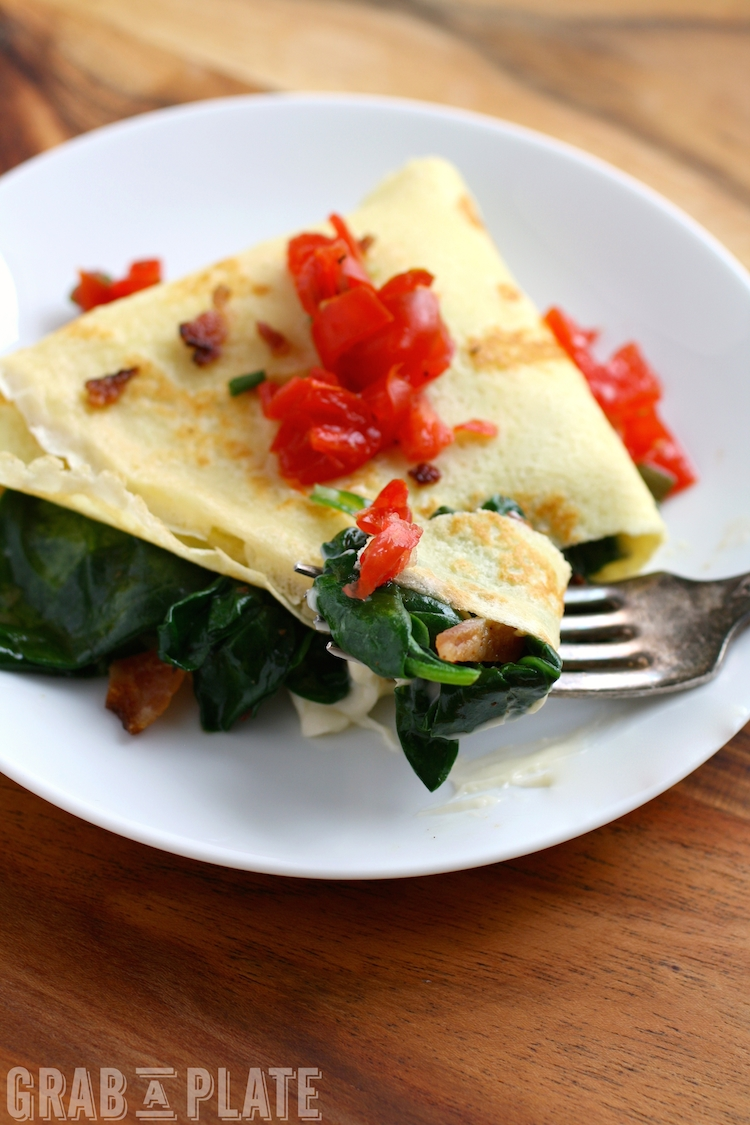 Dig into a delicious breakfast or breakfast-for-dinner dish: Spinach, Bacon, and Brie Crêpes