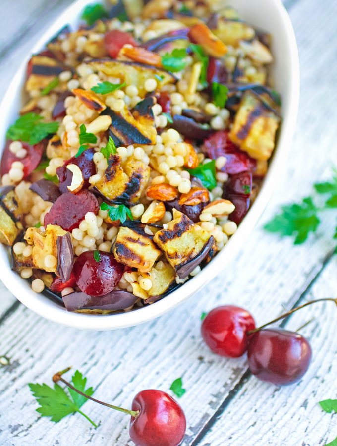 Grilled Eggplant, Cherries, and Couscous Salad is a great dish for the summer grilling season. Grilled Eggplant, Cherries, and Couscous Salad makes a great Meatless Monday dish!