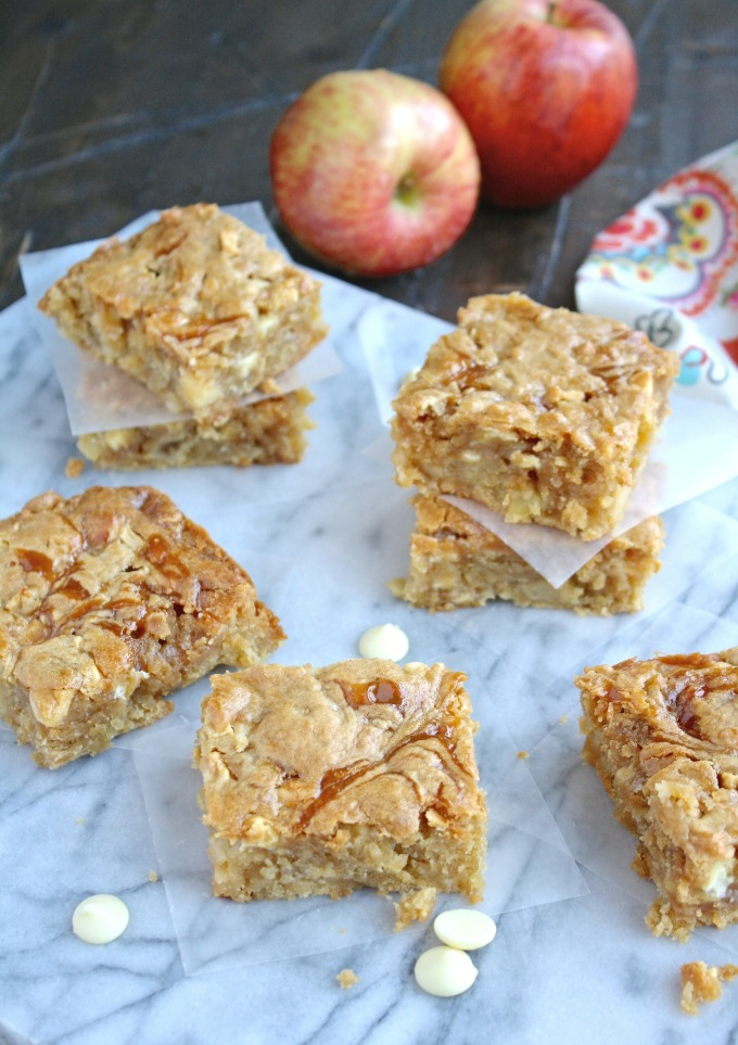 Gather up some friends and loved ones and enjoy these Caramel Apple and White Chocolate Chip Blondies!