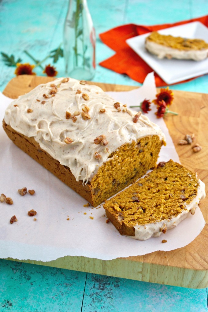 Make a loaf for yourself, or take it to a friend! Pecan-Pumpkin Bread with Chai Cream Cheese Frosting is delicious!