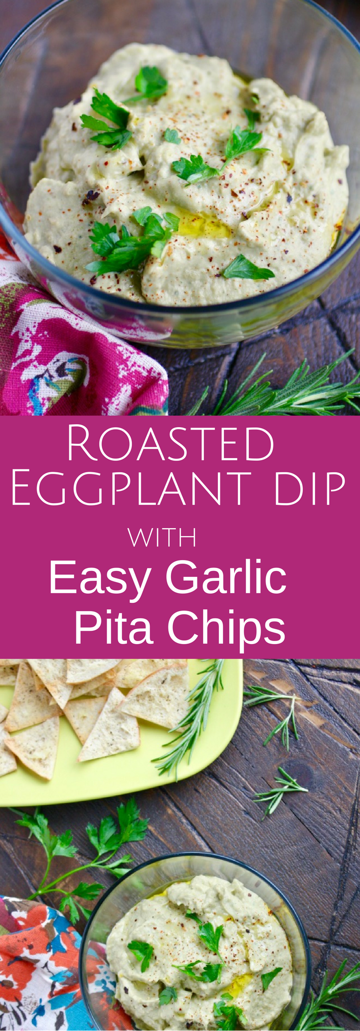 You'll love this flavorful combo: Roasted Eggplant Dip with Easy Garlic Pita Chips -- great to serve any time!