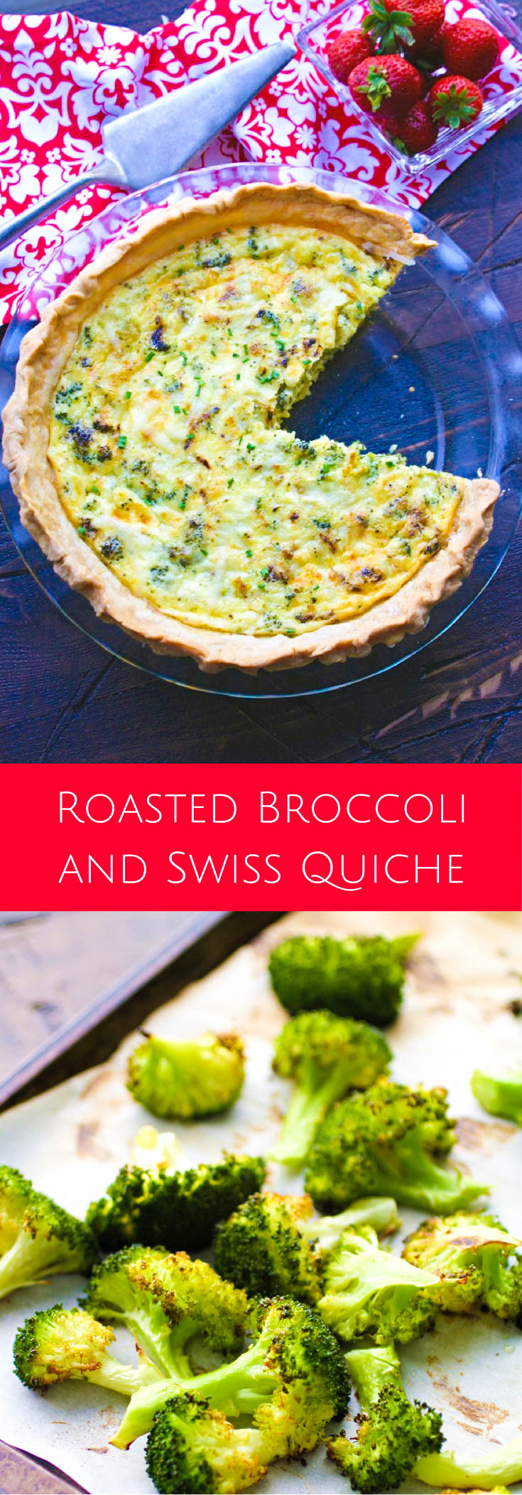 Roasted Broccoli and Swiss Quiche is a delightful dish for a special brunch, or for dinner. Roasted Broccoli and Swiss Quiche is an easy-to-make, filling and flavorful meal.