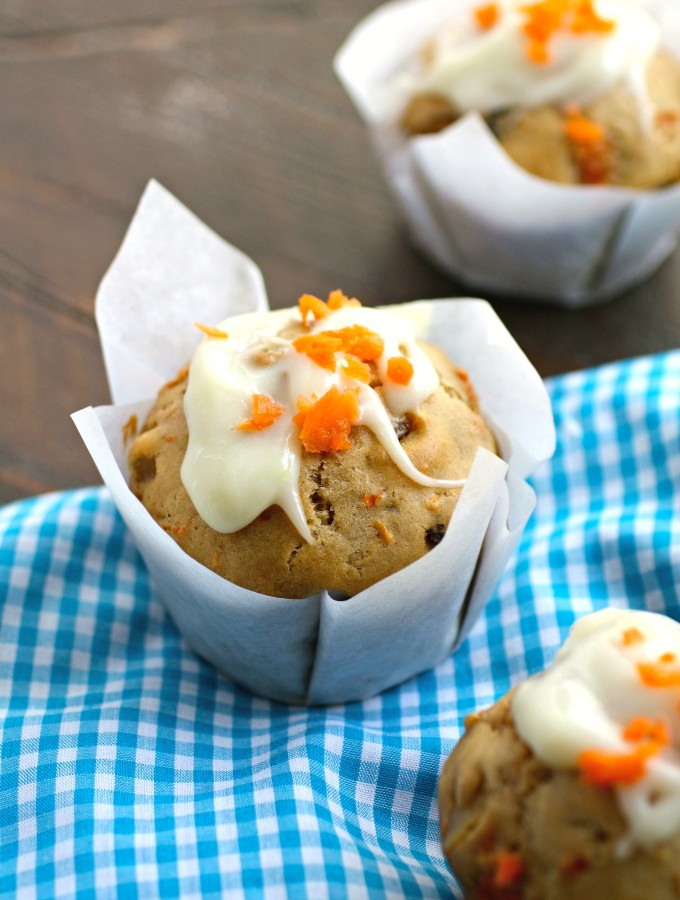 Enjoy these seasonal, delicious Carrot Cake Muffins with Ginger-Cream Cheese Glaze