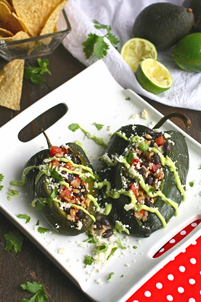 For a wonderful and comforting meatless dish, choose Black Bean and Rice Stuffed Poblano Peppers with Avocado Cream.