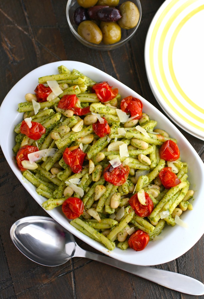 Your family will devour Kale Pesto Pasta with Roasted Tomatoes and White Beans -- it's a great way to use up leftovers!