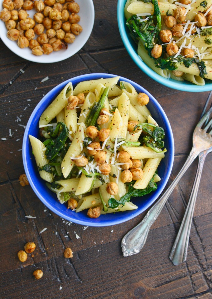 You should look into making Pasta with Rapini and Crispy Chickpeas for your next meal!