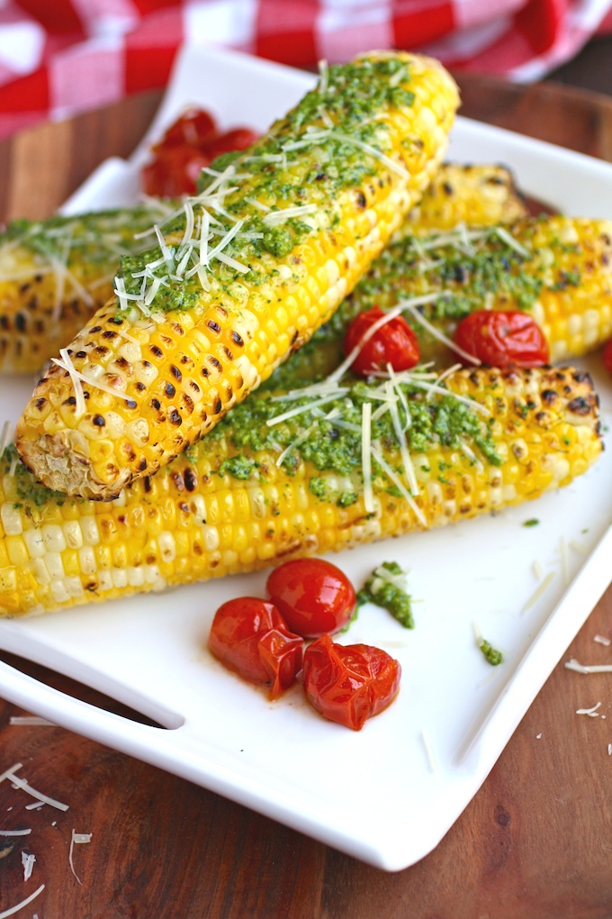Grilled Corn on the Cob with Kale Pesto is a summer side favorite!