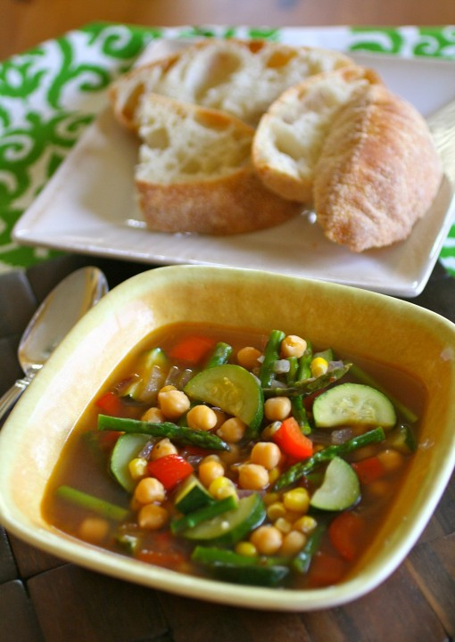 Spicy Chickpea and Summer Vegetable Soup