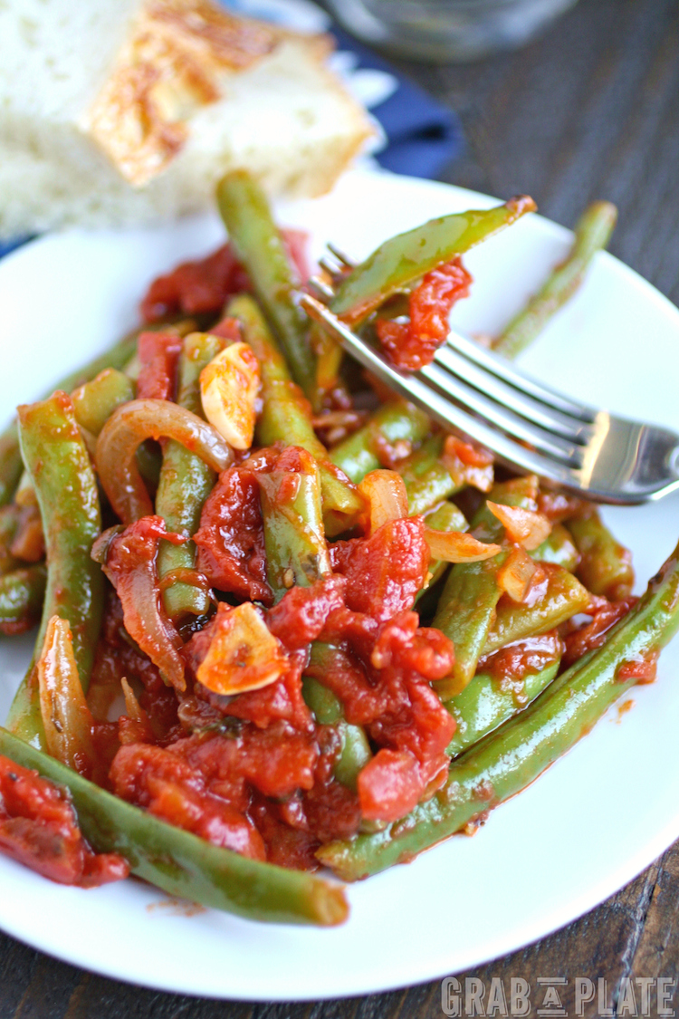 Dig your fork into Green Beans in Tomato Sauce. It makes a great side dish!