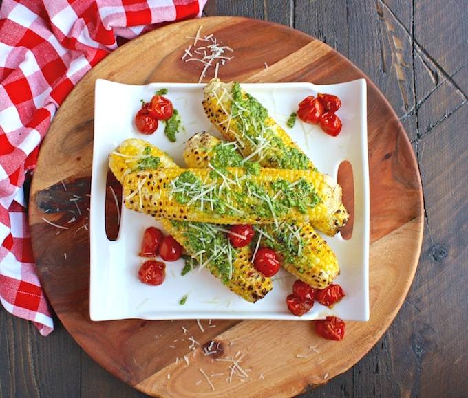 Get the grill ready for Grilled Corn on the Cob with Kale Pesto!