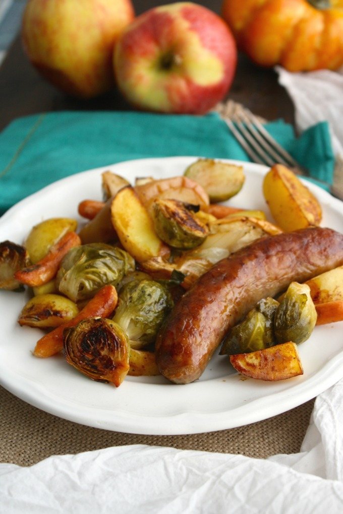 Sit down to a fabulous fall meal: Oktoberfest Sheet Pan Brats with Vegetables!