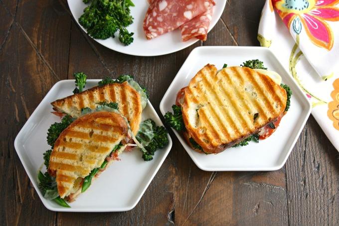 Warm and delicious, these Broccolini, Salami and Provolone Panini are delicious!