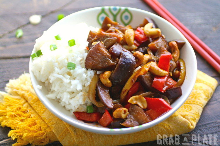 The sauce steals the show in this recipe for Spicy Eggplant Stir-Fry with Cashews.