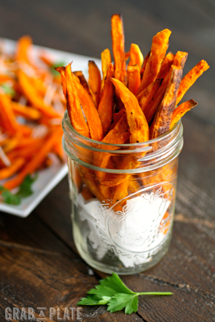 "These Sweet Potato ""Fries"" are perfect to dunk into Jalapeno-Onion Ranch Dip!"