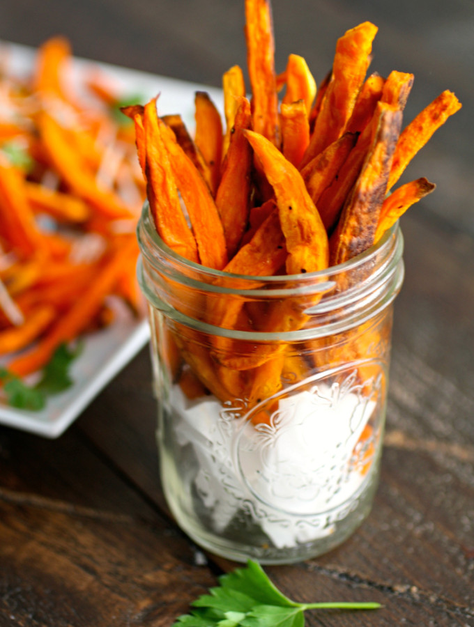 """You'll love to dig into to these Sweet Potato """"Fries"""" with Jalapeno-Onion Ranch Dip as either a side or snack!"""