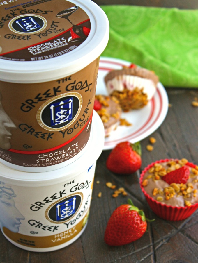 I used The Greek Gods yogurt to make these Chocolate, Vanilla & Strawberry Frozen Yogurt Cups.