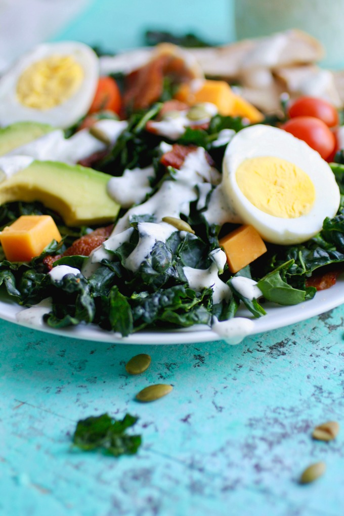 Kale Cobb Salad with Buttermilk Ranch Dressing is perfect for lunch or dinner, and hearty, too!
