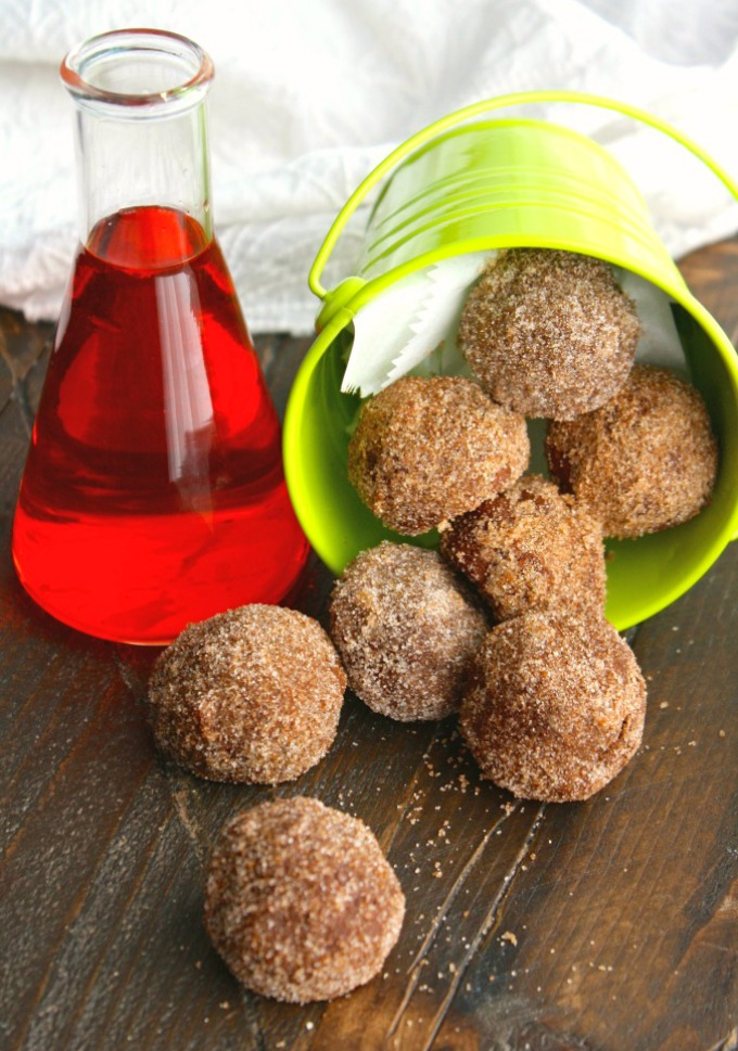 Whether you eat Cinnamon-Sugar Coated Chocolate Donut Holes with milk or witch's brew, you'll love them!