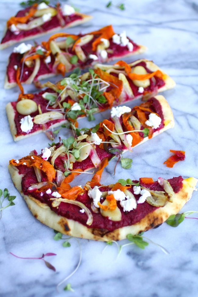 Slice and serve: Flatbread Pizza with Beet Hummus and Roasted Veggies