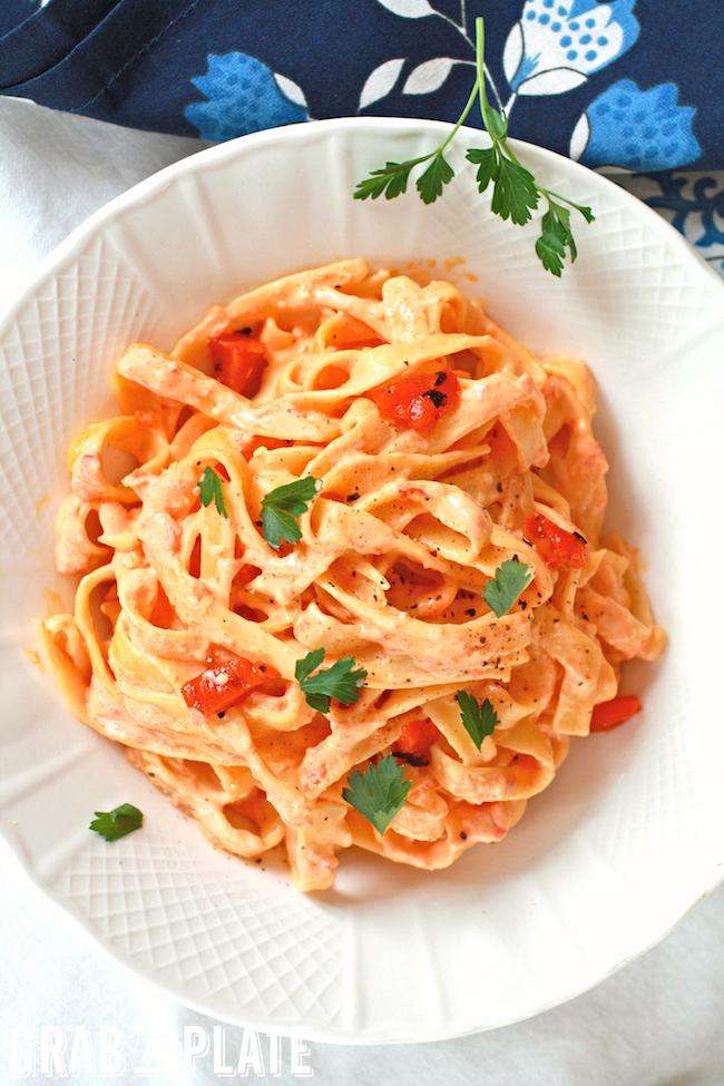 Enjoy a bowl of Roasted Red Pepper Fettuccine Alfredo