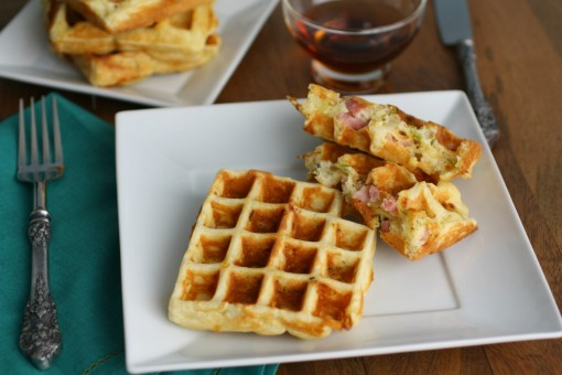 Savory Waffles with Ham, Cheese and Brussels Sprouts